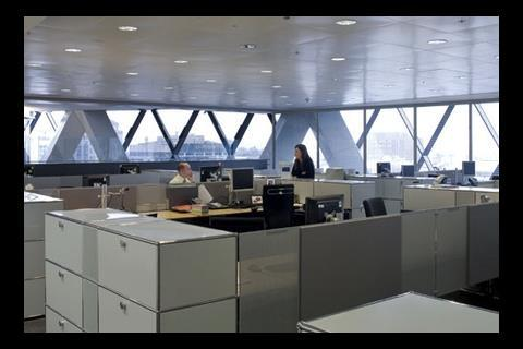 Swiss Re's open-plan offices admit daylight and fresh air, as intended.